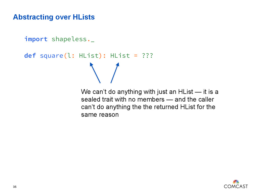 Abstracting over HLists 35 import shapeless._ d...