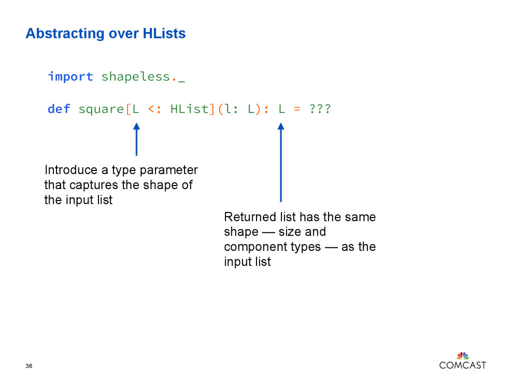 Abstracting over HLists 36 import shapeless._ d...