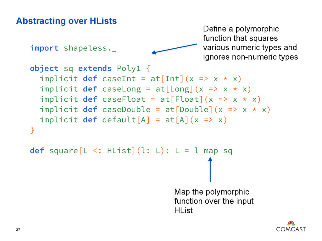 Abstracting over HLists 37 import shapeless._ o...