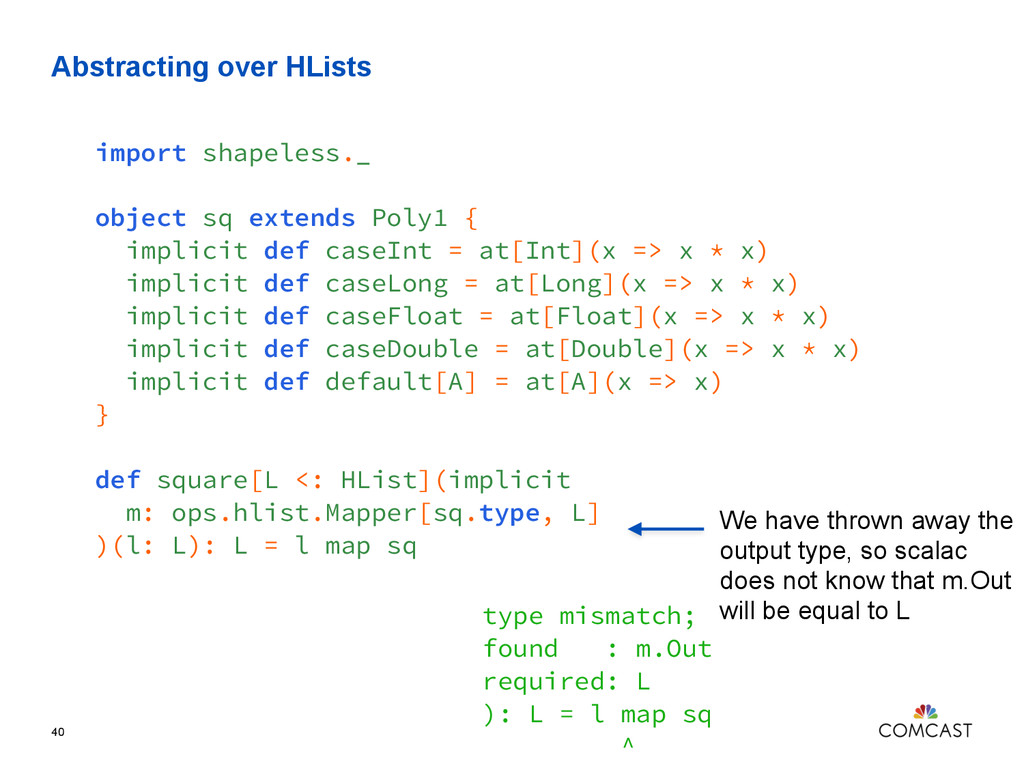 Abstracting over HLists 40 import shapeless._ o...