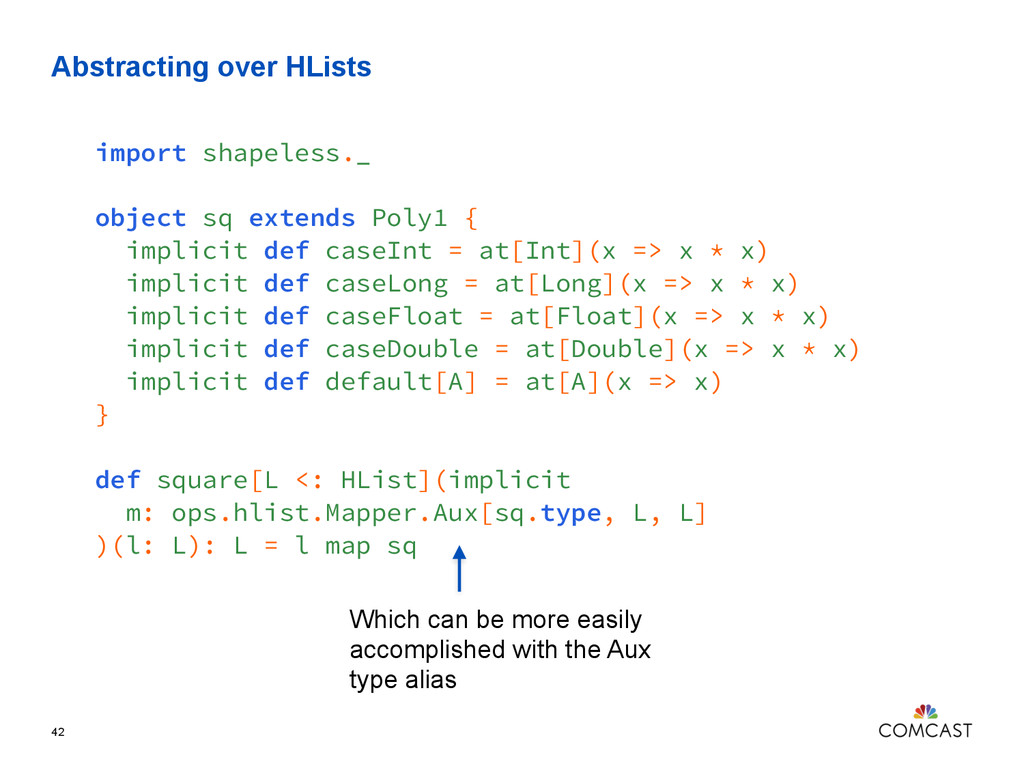 Abstracting over HLists 42 import shapeless._ o...