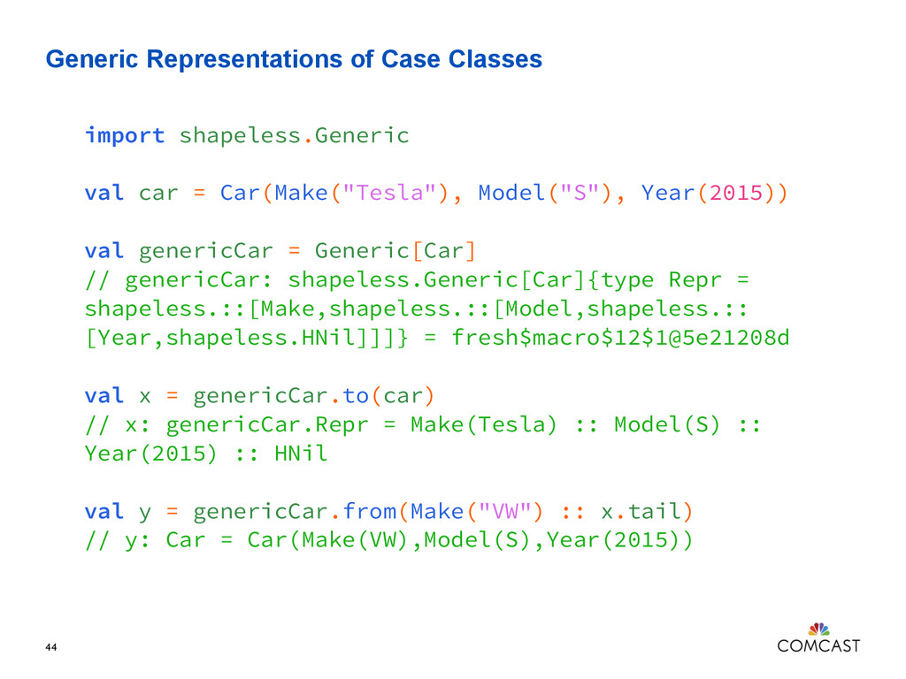 Generic Representations of Case Classes 44 impo...