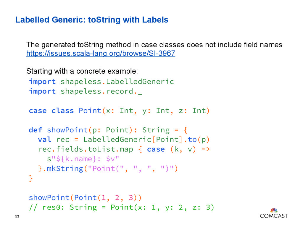 Labelled Generic: toString with Labels 53 impor...