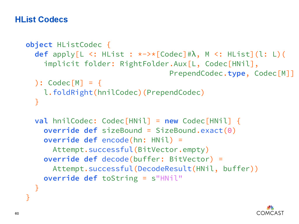 HList Codecs 60 object HListCodec { def apply[L...
