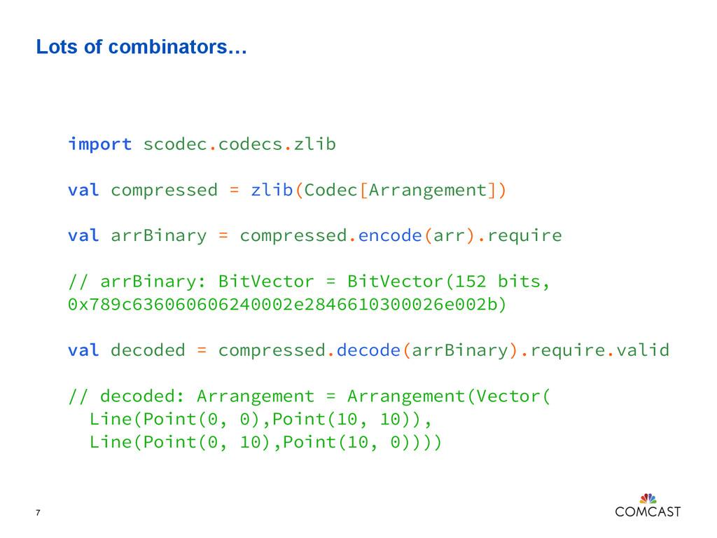Lots of combinators… 7 import scodec.codecs.zli...