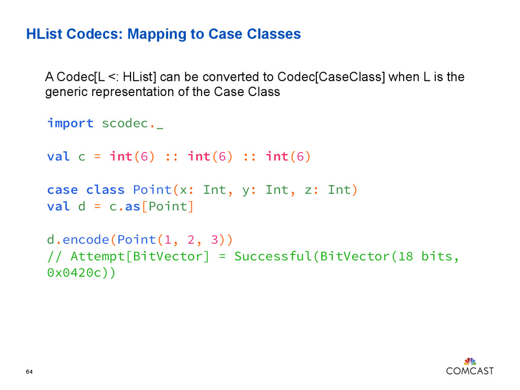 HList Codecs: Mapping to Case Classes 64 A Code...