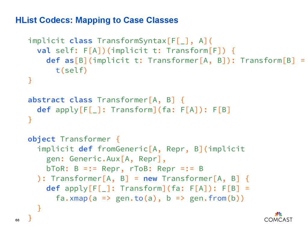HList Codecs: Mapping to Case Classes 66 implic...
