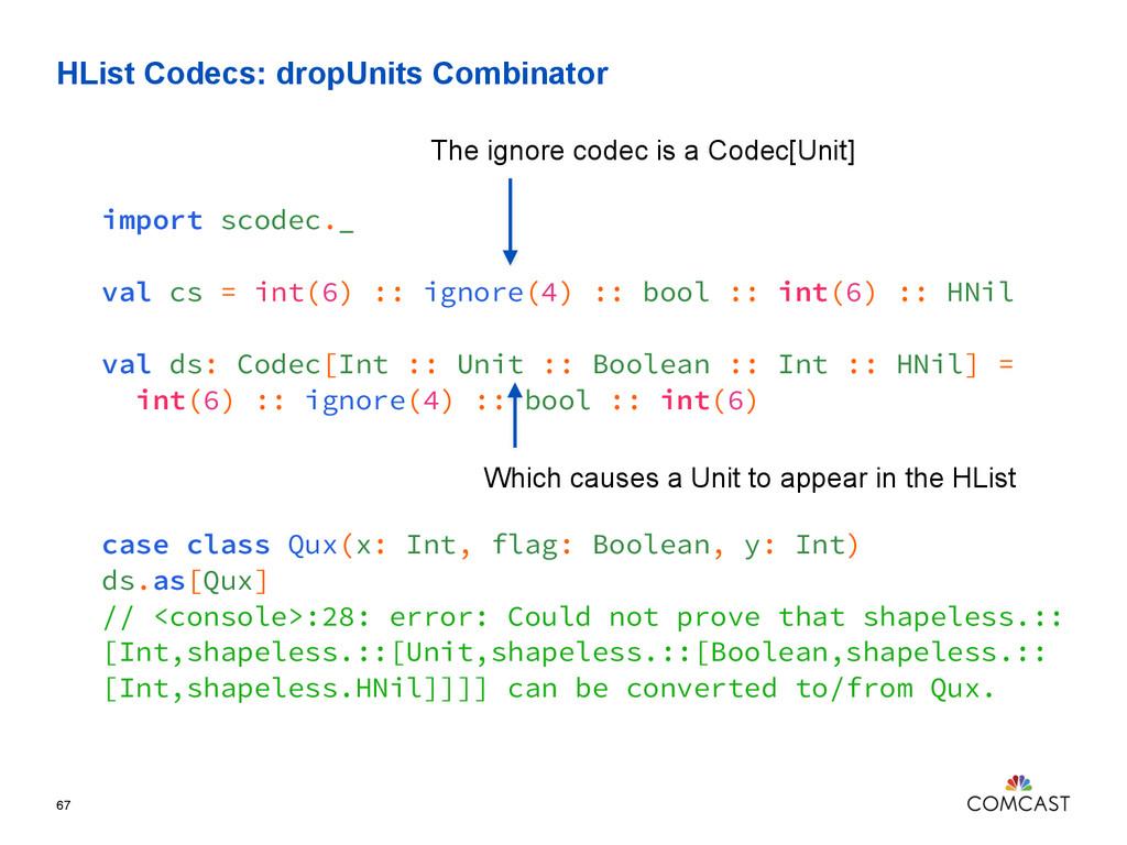 HList Codecs: dropUnits Combinator 67 import sc...