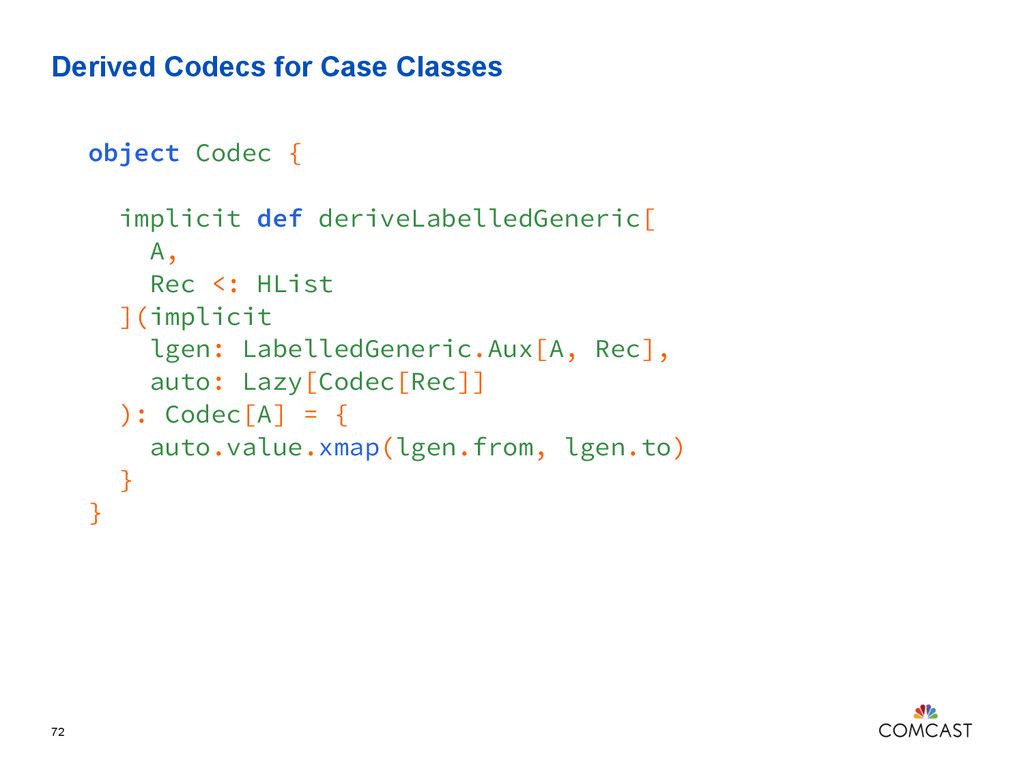 Derived Codecs for Case Classes 72 object Codec...