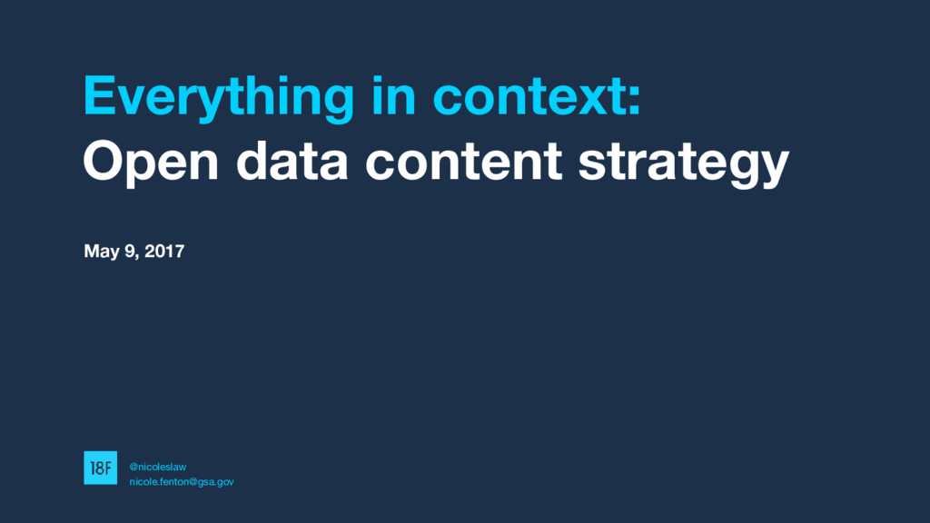 Everything in context: Open data content strate...