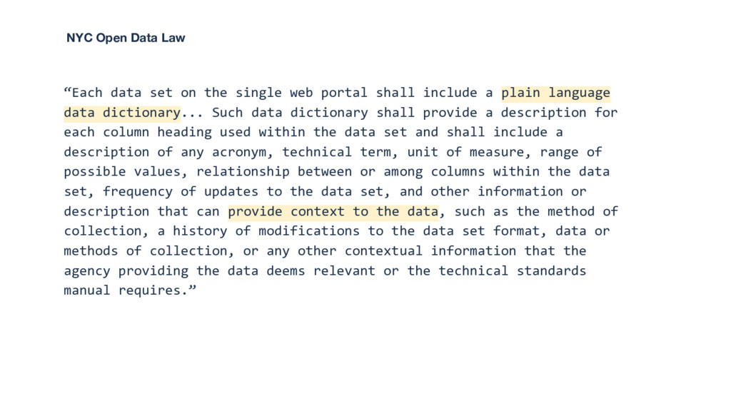 """""""Each data set on the single web portal shall i..."""