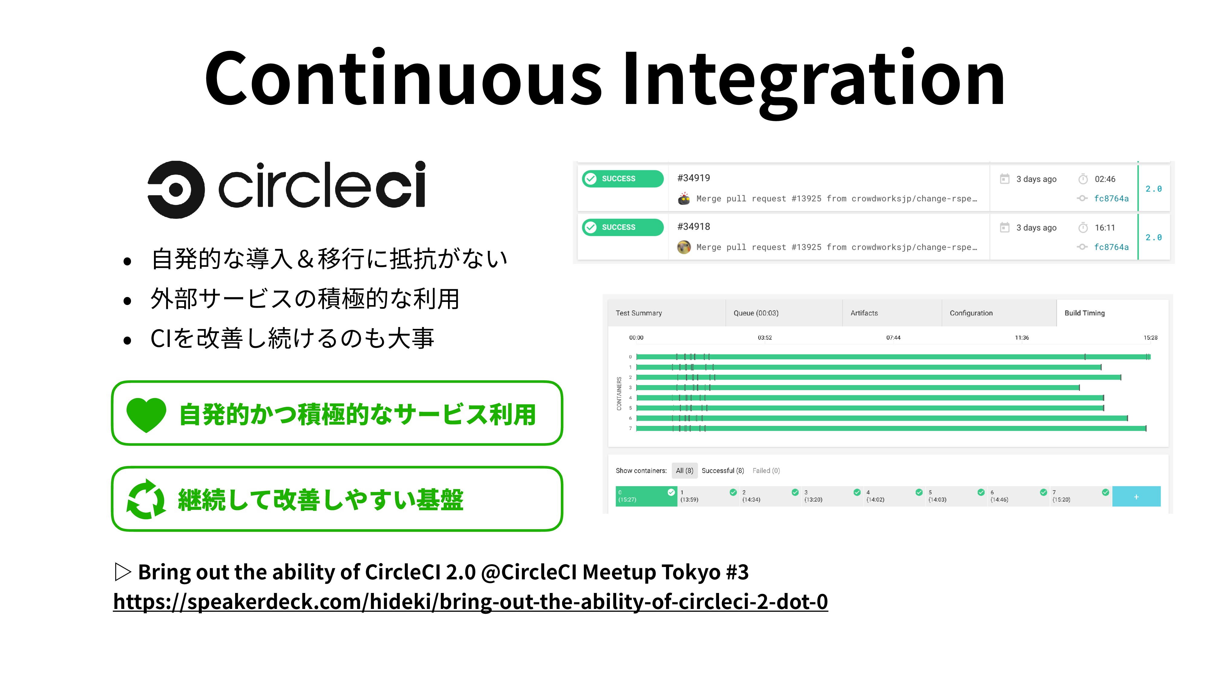 Continuous Integration • ⾃発的な導⼊&移⾏に抵抗がない • 外部サー...