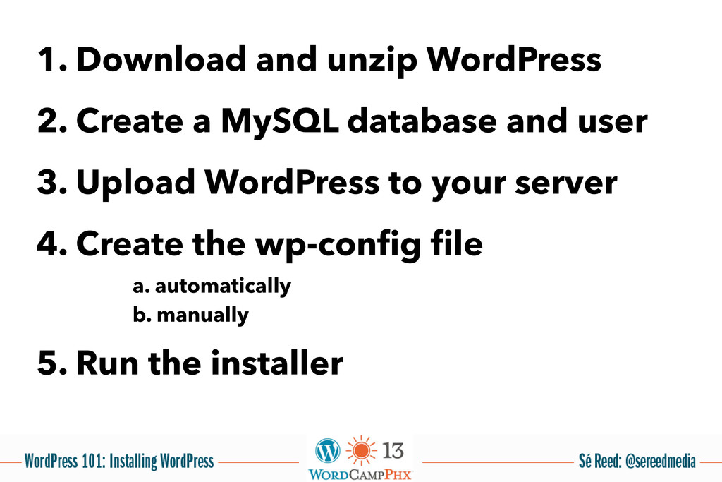 1. Download and unzip WordPress 2. Create a MyS...