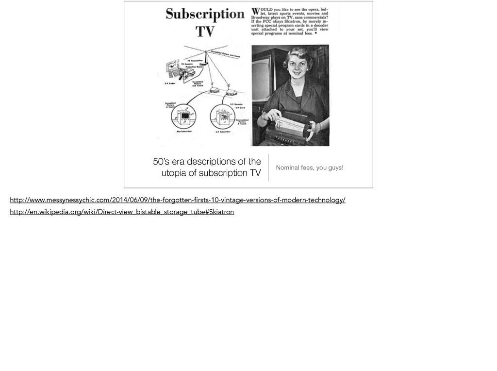 50's era descriptions of the utopia of subscrip...