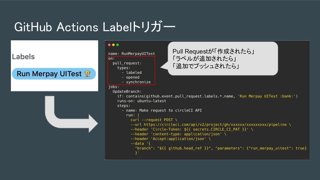 GitHub Actions Labelトリガー Pull Requestが「作成されたら」...