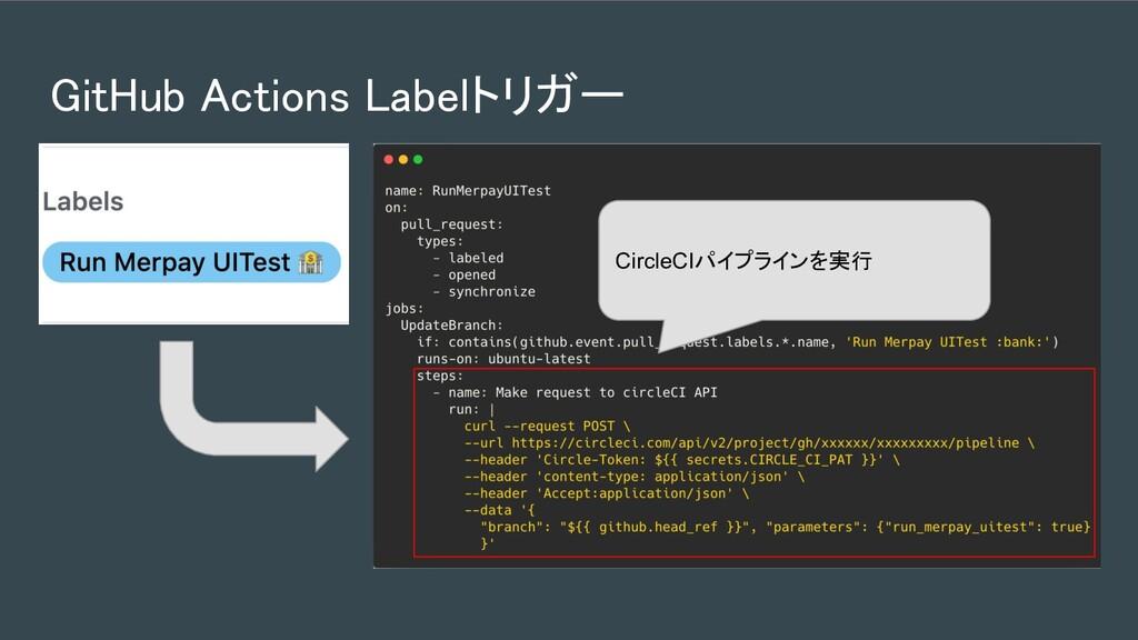 GitHub Actions Labelトリガー CircleCIパイプラインを実行