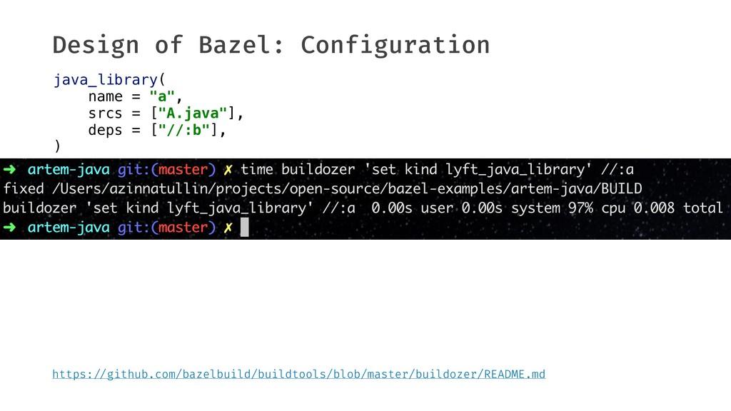 Design of Bazel: Configuration java_library( na...