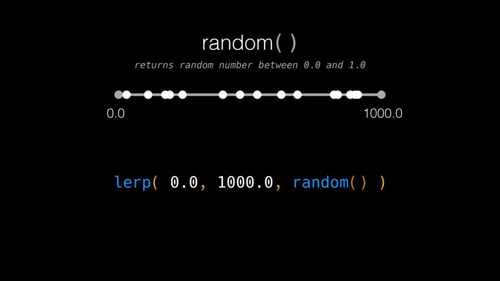 0.0 1000.0 lerp( 0.0, 1000.0, random() ) random...