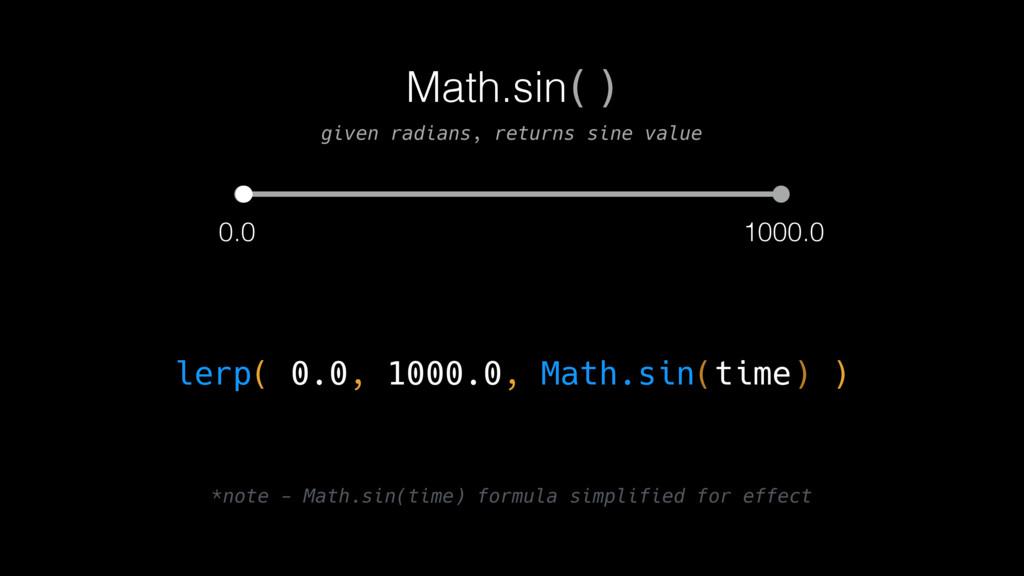 0.0 1000.0 lerp( 0.0, 1000.0, Math.sin(time) ) ...