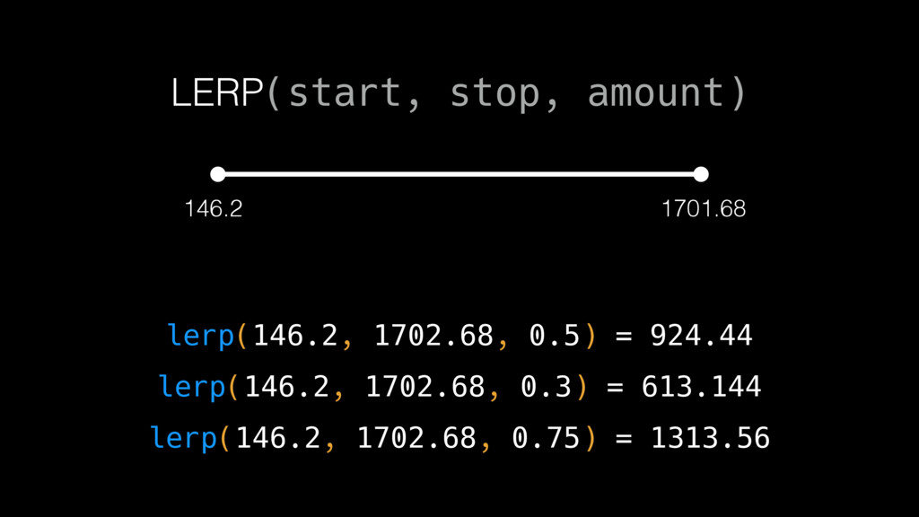 146.2 1701.68 lerp(146.2, 1702.68, 0.5) = 924.4...
