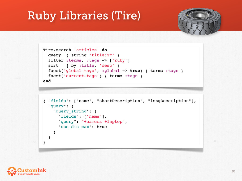 Tire.search 'articles' do query { string 'title...