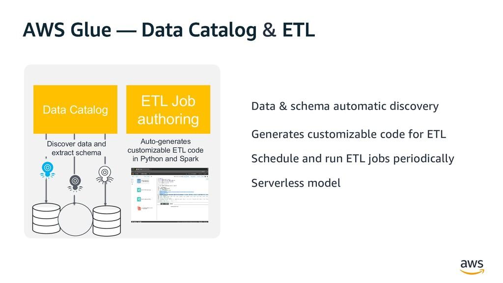 & Data Catalog ETL Job authoring Discover data ...