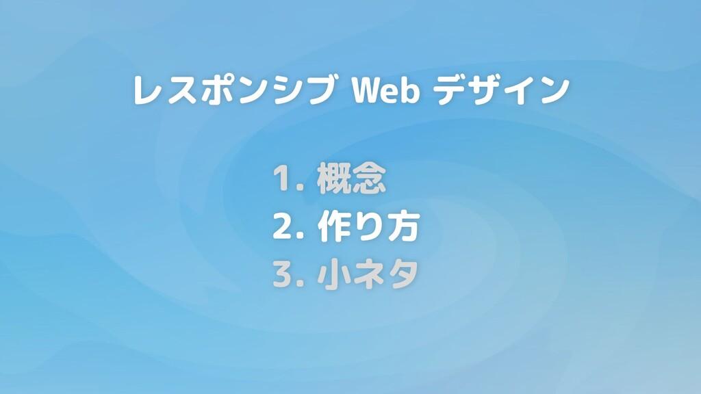 1. 概念 2. 作り方 3. 小ネタ レスポンシブ Web デザイン
