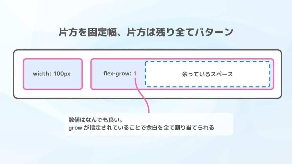 余っているスペース flex-grow: 1 width: 100px 片方を固定幅、片方は残り...