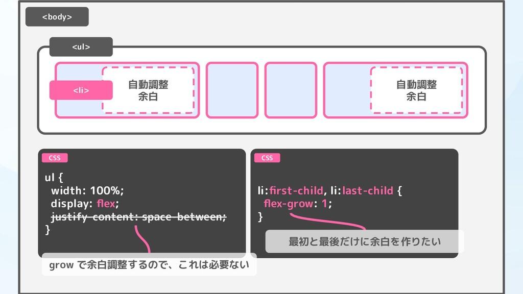 <ul> ul { width: 100%; display: flex; justify-co...