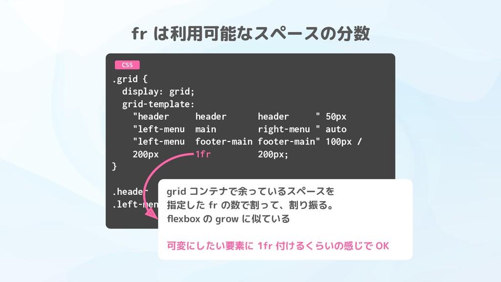 """.grid { display: grid; grid-template: """"header h..."""