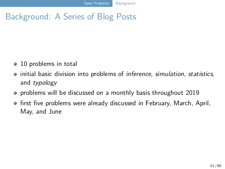 Open Problems Background Background: A Series o...