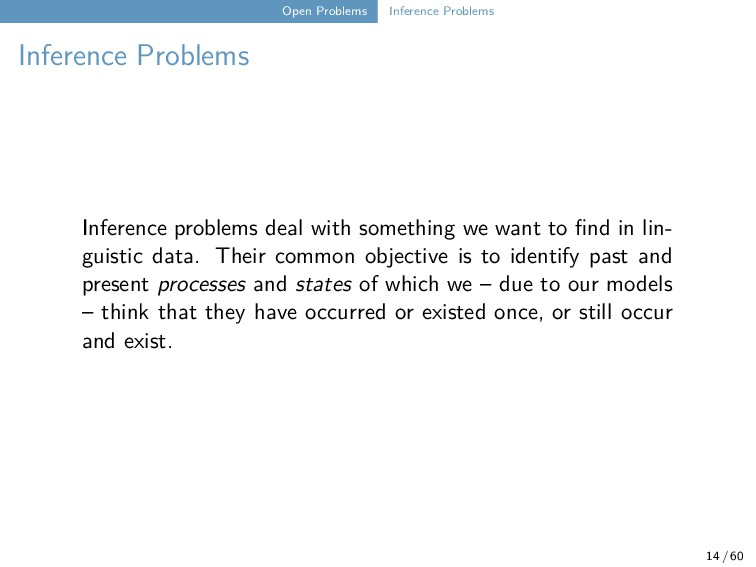 Open Problems Inference Problems Inference Prob...