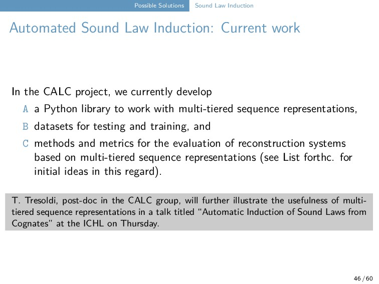 Possible Solutions Sound Law Induction Automate...