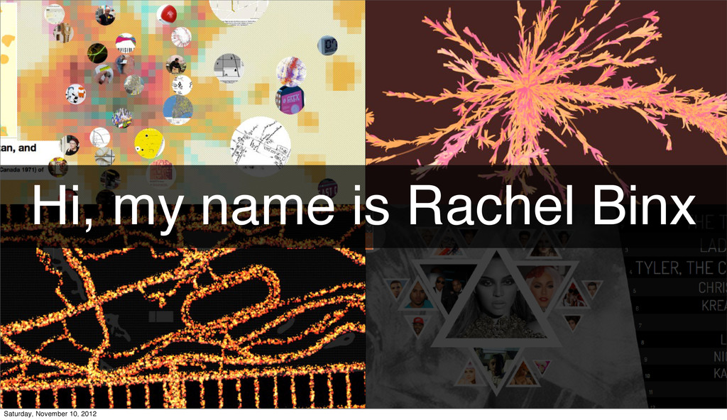 Hi, my name is Rachel Binx Saturday, November 1...
