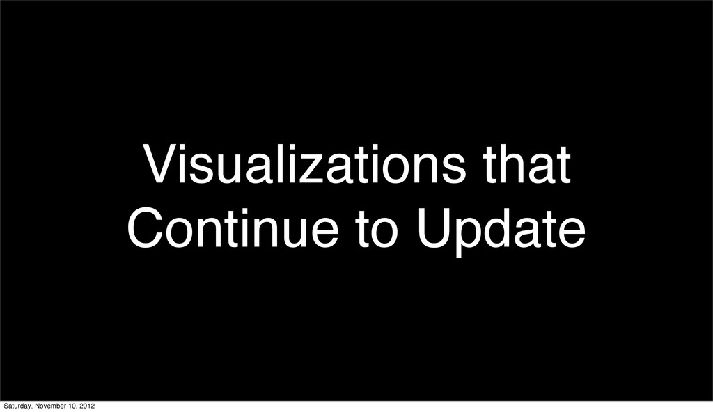 Visualizations that Continue to Update Saturday...
