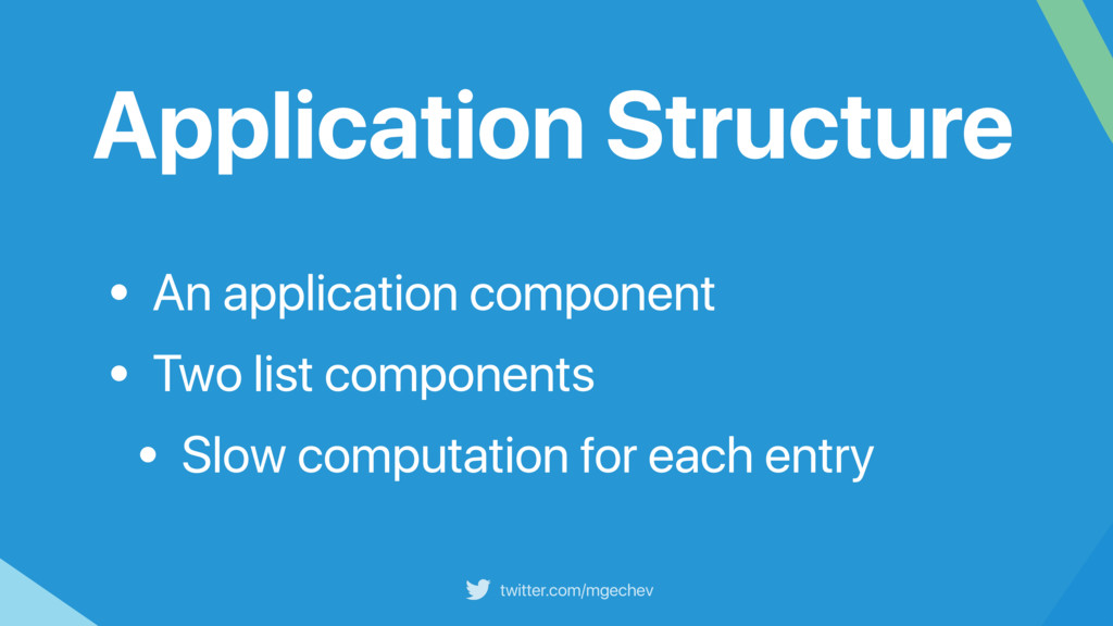 twitter.com/mgechev Application Structure • An ...