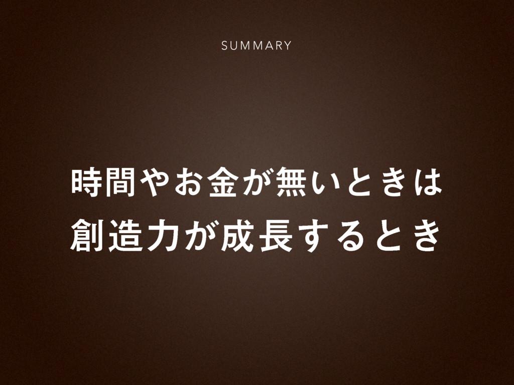 ͓͕ؒۚແ͍ͱ͖ S U M M A RY ྗ͕͢Δͱ͖