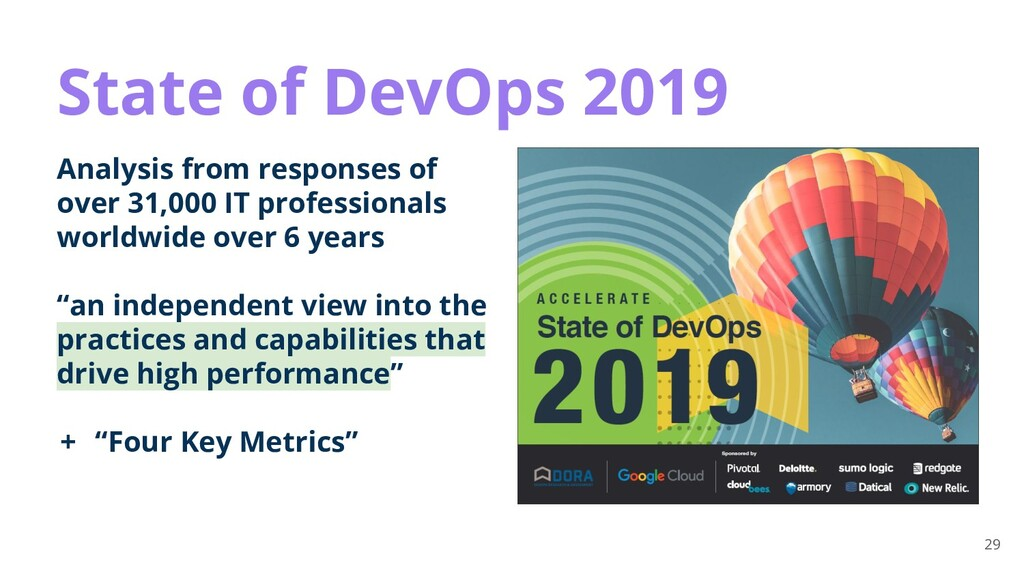 29 State of DevOps 2019 Analysis from responses...