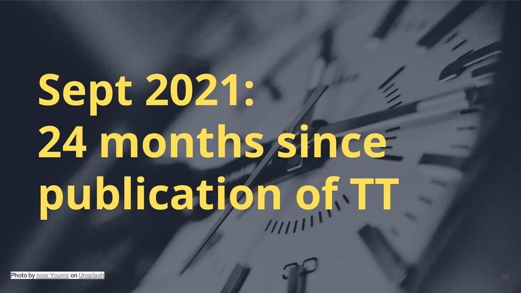 Sept 2021: 24 months since publication of TT Ph...
