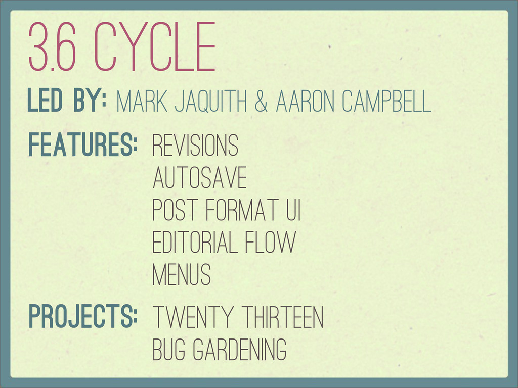 3.6 Cycle Led By: Mark Jaquith & Aaron Campbell...
