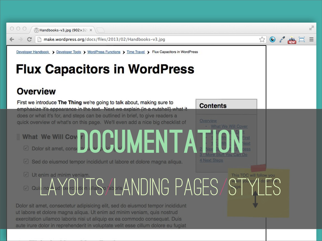 Documentation Layouts/Landing Pages/Styles