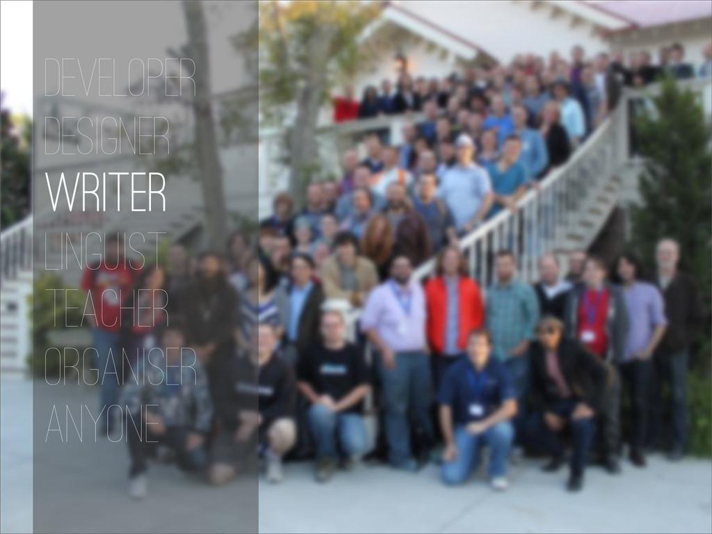 Developer Designer Writer Linguist Teacher Orga...