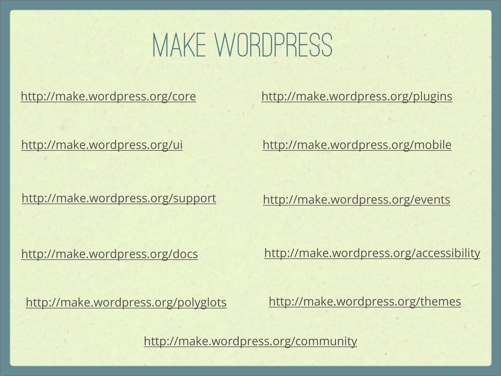 Make WordPress http://make.wordpress.org/core h...