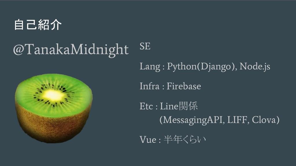 自己紹介 @TanakaMidnight SE Lang : Python(Django), ...