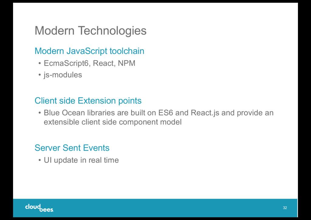 Modern Technologies Modern JavaScript toolchain...