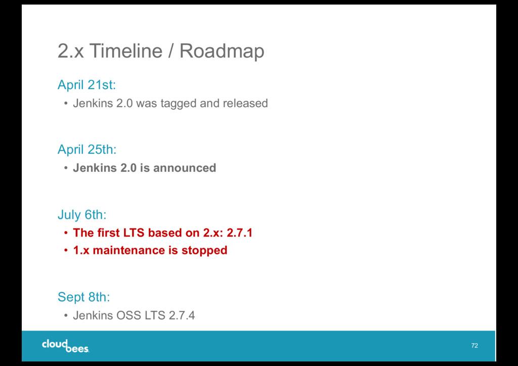 2.x Timeline / Roadmap April 21st: • Jenkins 2....