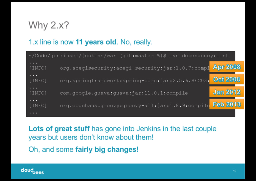 Why 2.x? 1.x line is now 11 years old. No, real...