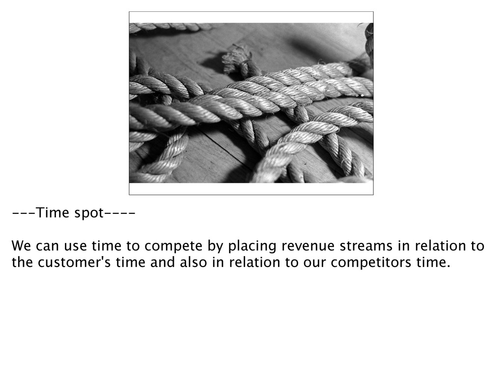 ---Time spot---- We can use time to compete by ...