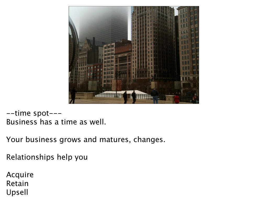 --time spot--- Business has a time as well. You...