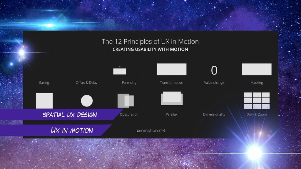 spatial ux design Ux in motion